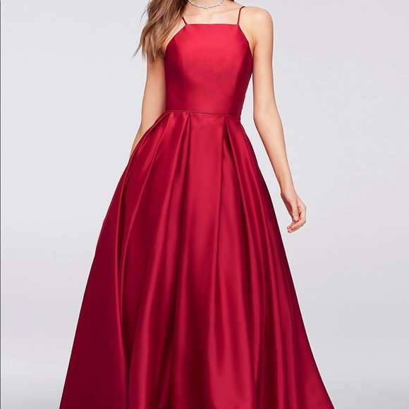 Red High-Neck Satin Ball Gown
